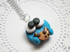 Cookie Monster Necklace Fimo Jewelry Polymer by KawaiiGirlFashion