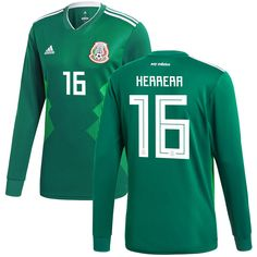 cb7230a6d95 Hector Herrera Mexico National Team adidas 2018 Home Replica Long Sleeve  Jersey - Green