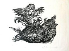 "Marcelo Grassmann, Sem título, da série ""Incubus e Sucubus"", 1952, xilogravura sobre papel 31,5 X 37."