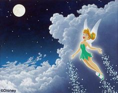 Tinkerbell - Off to Neverland - by Schim Schimmelgiclee on canvas, Tink, Tinker Bell Tinkerbell And Friends, Peter Pan And Tinkerbell, Disney Fairies, Tinkerbell Disney, Disney Kunst, Arte Disney, Disney Magic, Tinker Bell, Original Disney Princesses