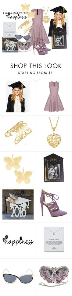 """""""Butterfly Lace"""" by faeryrain ❤ liked on Polyvore featuring NPW, Burberry, Kenneth Jay Lane, Dogeared, adidas, Judith Leiber and graduationdaydress"""