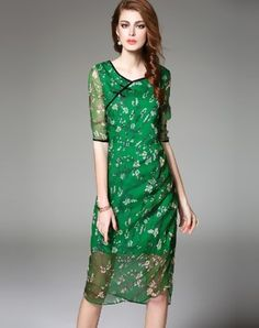 Green Floral Print Silk Cheongsam Midi Dress