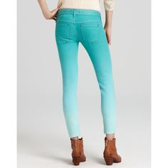 Free People Jeans - Dip Dye Denim Skinny in Sea Green ($39) ❤ liked on Polyvore featuring jeans, sea green, 5 pocket jeans, free people jeans, zipper skinny jeans, super skinny jeans e dip dye jeans