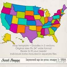 Sweet Shoppe Designs :: Elements :: Clipping Masks :: Layered up in You: Maps1- USA by Lauren Grier