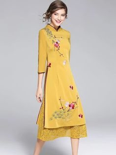 Ethnic Stand Collar Lace Patchwork Embroidery Skater Dress