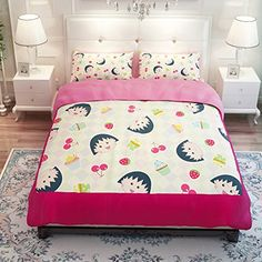 MeMoreCool Cartoon Chibi Maruko Chan Bedding Set Lovely Princess Duvet Cover Set KidsStudents Bedding Set3PieceTwin -- Check out the image by visiting the link.