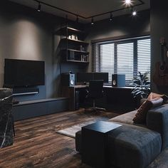 Apartment Living Room Ideas (Small, Modern, and College Living Room Design) Small Living Room Design, Home Room Design, Home Office Design, Living Room Designs, House Design, Design Homes, Interior Design Career, Black Interior Design, Black Room Design