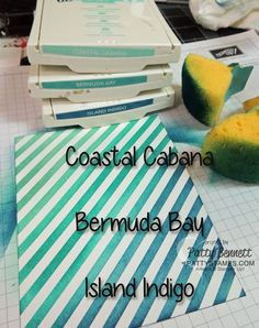 Stampin Up ombre color combo Coastal Cabana, Bermuda Bay and Island Indigo sponged on Irresistibly Yours paper #stampinup #colorcombo
