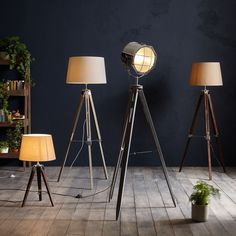 This charmingly casual tripod floor lamp is complete with chrome metal detailing. Finished with a simple tapered, cotton shade and adjustable height. It's perfect for adding a relaxed style to your home. Grey Table Lamps, Tripod Table Lamp, Küchen Design, Furniture Inspiration, Home Interior, Flooring, Lights, John Lewis, Home Decor