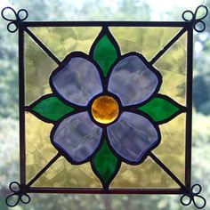 simple stained glass patterns beginners | 407A Jewel Flower - Emerald green, grape, and pale amber