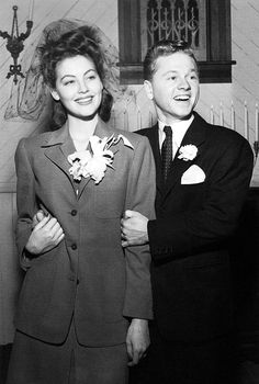 A 19 year old Ava Gardner & Mickey Rooney on their wedding day, 1942.  During the war, it was customary for brides to wear simple suits or clothing rather than a Wedding Dress as it was considered unpaitriotic.