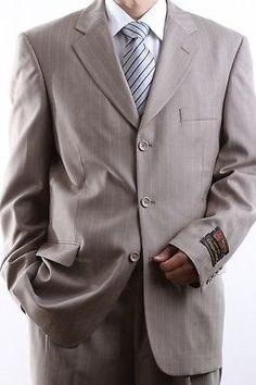 MEN'S THREE BUTTON TAN PINSTRIPE DRESS SUIT SIZE 36S PL-64013-TAN