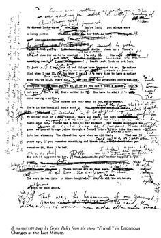 """A manuscript page by Grace Paley from the story """"Friends"""" in Enormous Changes at the Last Minute (1974)"""