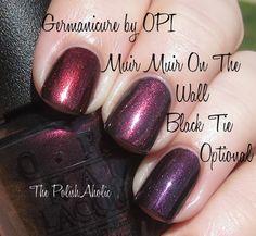 OPI Muir Muir On The Wall vs OPI Germanicure by OPI vs OPI Black Tie Optional. No dupes here! I used 2 coats of each polish for the photo!The PolishAholic: Fall 2013 OPI, China Glaze, Zoya & Essie Comparisons