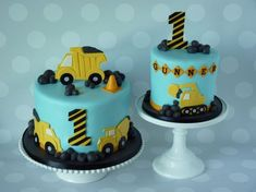 2nd Birthday Cake Boy, Toddler Birthday Cakes, Truck Birthday Cakes, Truck Cakes, Construction Theme Cake, Construction Birthday, Excavator Cake, Digger Cake, Mickey Y Minnie