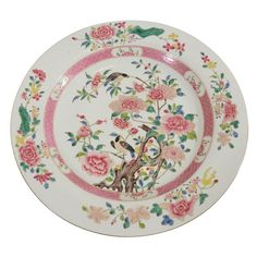 "Large ""Famille Rose"" Chinese charger with soft pastel colors."