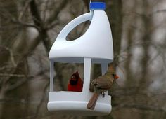 recycled crafts for kids and adults, handmade bird feeders recycling plastic bottles                                                                                                                                                                                 Más