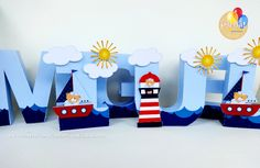 Nome Miguel 3D Leo Birthday, 1st Birthday Themes, Birthday Decorations, 3d Letters, Paper Mache Letters, Boat Theme, Artic Animals, Baby Name Signs, Baby Mobile