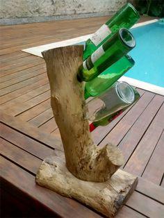 adega / rack de madeira de reaproveitamento para vinhos - 5 garrafas - decoração jzk design