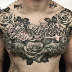 Rose Chest Tattoo, Cool Chest Tattoos, Chest Tattoos For Women, Chest Piece Tattoos, Pieces Tattoo, Dope Tattoos, Body Art Tattoos, Hand Tattoos, Sleeve Tattoos