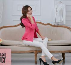 Primavera outono senhoras plissado fino Blazer e jaquetas Plus Size 3XL mulheres moda preto amarelo branco Blaser Terno Feminino D2028 em Blazers de Roupas e Acessórios no AliExpress.com | Alibaba Group