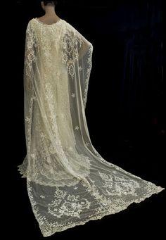 Gorgeous vintage lace bridal train by Henri Bendel Bridal Department. The veil…
