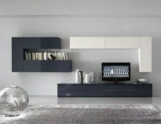 meuble TV design en blanc et gris