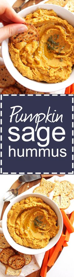 Pumpkin Sage Hummus - Bursting with slightly sweet pumpkin and savory sage! So YUM! Would make a great appetizer to any fall or winter holiday! This recipe is EASY to make! Vegan/Gluten Free/Vegetarian   robustrecipes.com