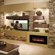 Modern Flames Fantastic Flame Linear Electric Fireplace - Wall Mount or Recessed Wall Mount Electric Fireplace, Fireplace Wall, Fireplace Design, Electric Fireplaces, Fireplace Ideas, Fireplace Stone, Tv With Fireplace, Off Center Fireplace, Fireplace Whitewash