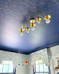 Star ceiling light in brass. Flush mount ceiling light made to look like a star constellation. Made by Sazerac Stitches Baby Boy Nursery Decor, Nursery Design, Star Lights On Ceiling, Kids Room Lighting, Space Theme, Flush Mount Lighting, Plates On Wall, Constellations, Modern