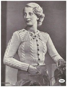 1930s Knitting Pattern for Womens Tyrolean Cardigan / Vest /   Etsy