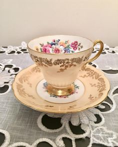 VINTAGE CROWN CHINA GOLD GILDED AUBERGINE CUP /& SAUCER.