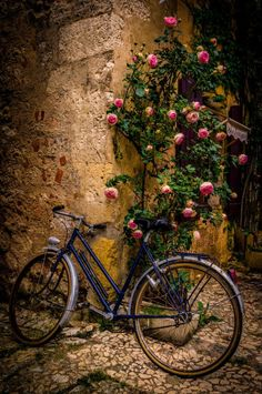 Stopping by the Restaurant - a lone bicycle, Monpazier, France - photography by Celso Bressan