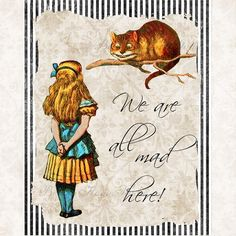 Alice in Wonderland With Cheshire Cat Quote
