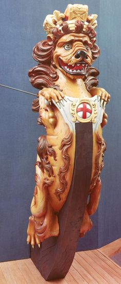 standard Royal Naval lion figurehead from a small warship