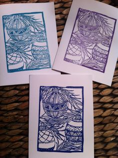 Vivian the Viking Carve, Christmas cards. Zentangle inspired Christmas balls.