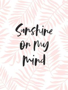 Summer Quotes : Sunshine On My Mind – Pink Palm Leaves Art Print by Creative Index Happy Quotes, Me Quotes, Funny Quotes, Positive Quotes, Free People Quotes, Aloha Quotes, Sunset Quotes, Ocean Quotes, Positive Mind
