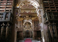 Library of Joanina, University of Coimbra, Portugal Beautiful Library, Dream Library, Library University, Library Architecture, Reading Room, Barcelona Cathedral, Most Beautiful, Around The Worlds, Modern