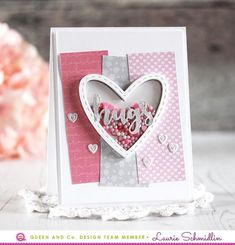 Easiest ever way to make a shaker valentine! Shaker cards the easy way! Queen and Company, Laurie Schmidlin