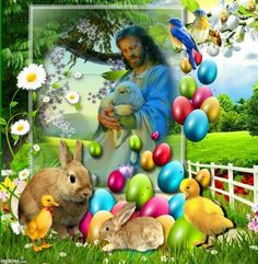 Jézus Happy Easter, Merry, Illustration, Blue Doors, Celebrations, Decor, Frases, Easter Eggs, Handbag Patterns