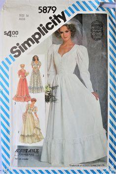 size 8-14 women/'s wedding dress prom dress pattern full skirt bridesmaid dress Simplicity 9505 80s sewing pattern