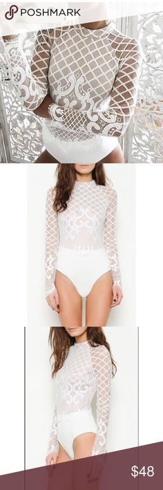 White Mesh Bodysuit New with tags. Zipper closure on the back, snap closure on the bottom. Very nice quality made in usa. Tops
