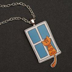 Orange Cat in Window Pendant Necklace