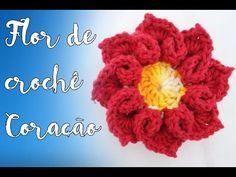 Flor de crochê coração - Passo a Passo - YouTube