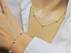 Wedding Jewelry Set, 14k Gold Fill or Sterling Silver, Dainty White Freshwater Pearl Set, Pearl Necklace and Bracelet, Bridal Jewellery Set by NORRANA on Etsy