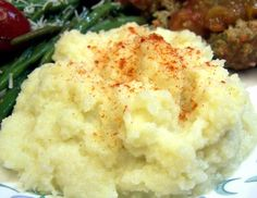For Steve, Creamy Mashed Cauliflower from Food.com: Darned Adkins Diet!   								This is a low-carb stand-in for mashed potatoes. The spices and cream that are added to steamed and pureed cauliflower give this dish the taste, texture and appearance of mashed potatoes. Serve this up with any entrée that goes well with mashed potatoes, and I swear you'll never miss the spuds.