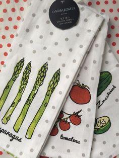 3 PC SET KITCHEN TEA DISH TOWELS Asparagus Tomato Zucchini by CYNTHIA ROWLEY NEW #CynthiaRowley