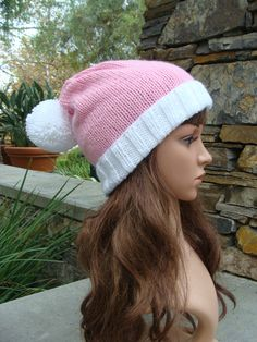 5cc5c8a9604 Items similar to Pink Knit Santa Hat with fold up brim and Pom-Pom