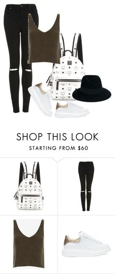 """""""Untitled #2600"""" by misnik ❤ liked on Polyvore featuring MCM, Topshop, Exclusive for Intermix, Alexander McQueen and Maison Michel"""