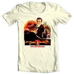0bd69b610 Goldfinger T shirt Bond 007 retro 70's 80's spy movie 100% cotton graphic  tee -